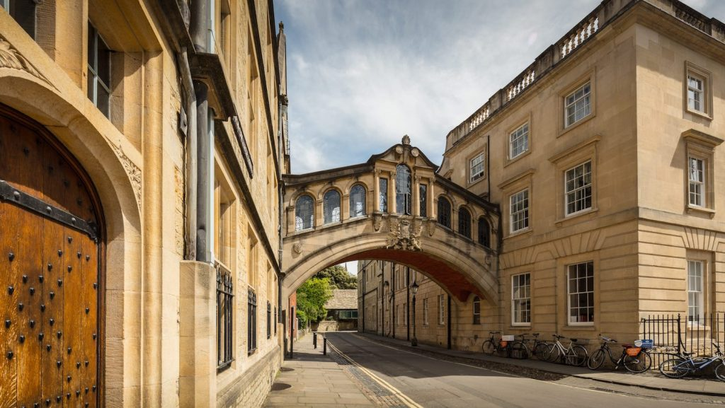 """Image of Hereford Bridge that links together the Old and New Quadrangles of Hereford College. Also known as """"The Bridge of Sighs""""."""
