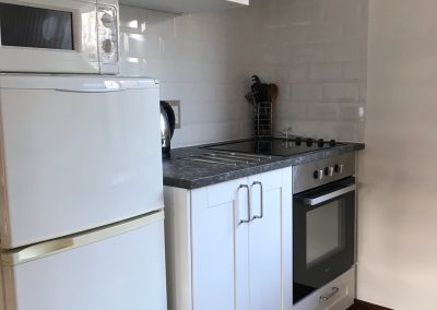 Kitchen area with cupboards, cooker, fridge and microwave
